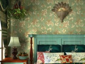 地中海风格卧室背景墙装修图片-地中海风格床头柜图片