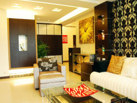 115平低调奢华三居沙发背景墙装修效果图