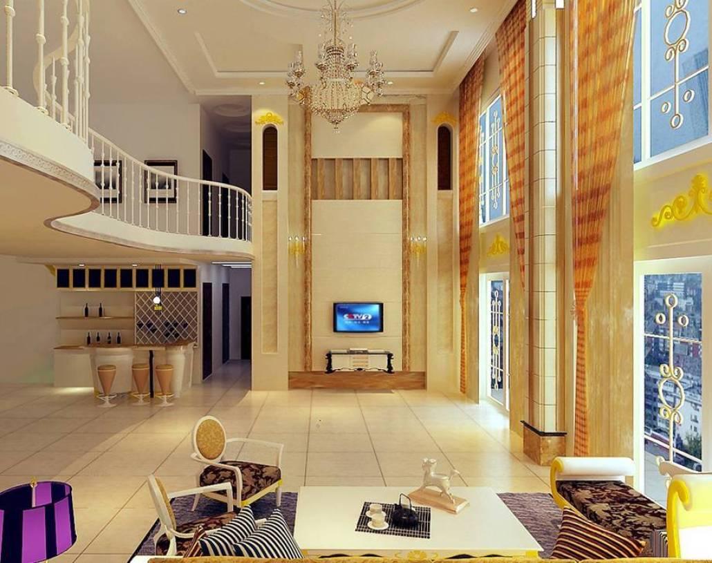 简约欧式风格楼中楼客厅电视背景墙装修效果图-简约欧式风格沙发椅