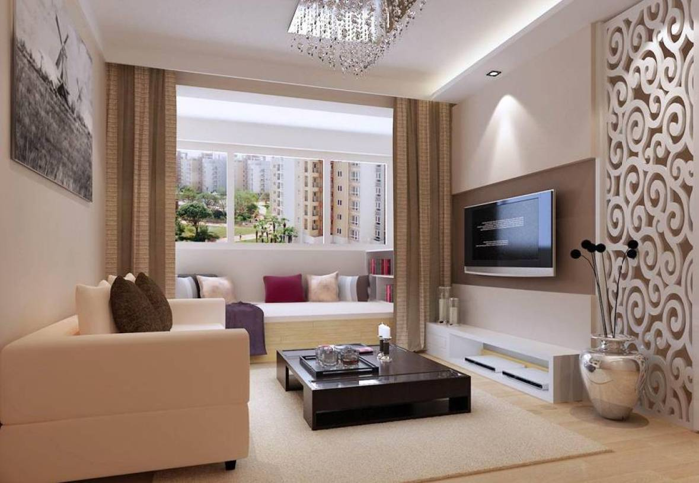 80㎡小户型简约风格客厅电视背景墙装修效果图-简约风格电视柜图片