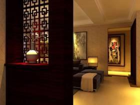 中式风格三居室客厅玄关装修效果图