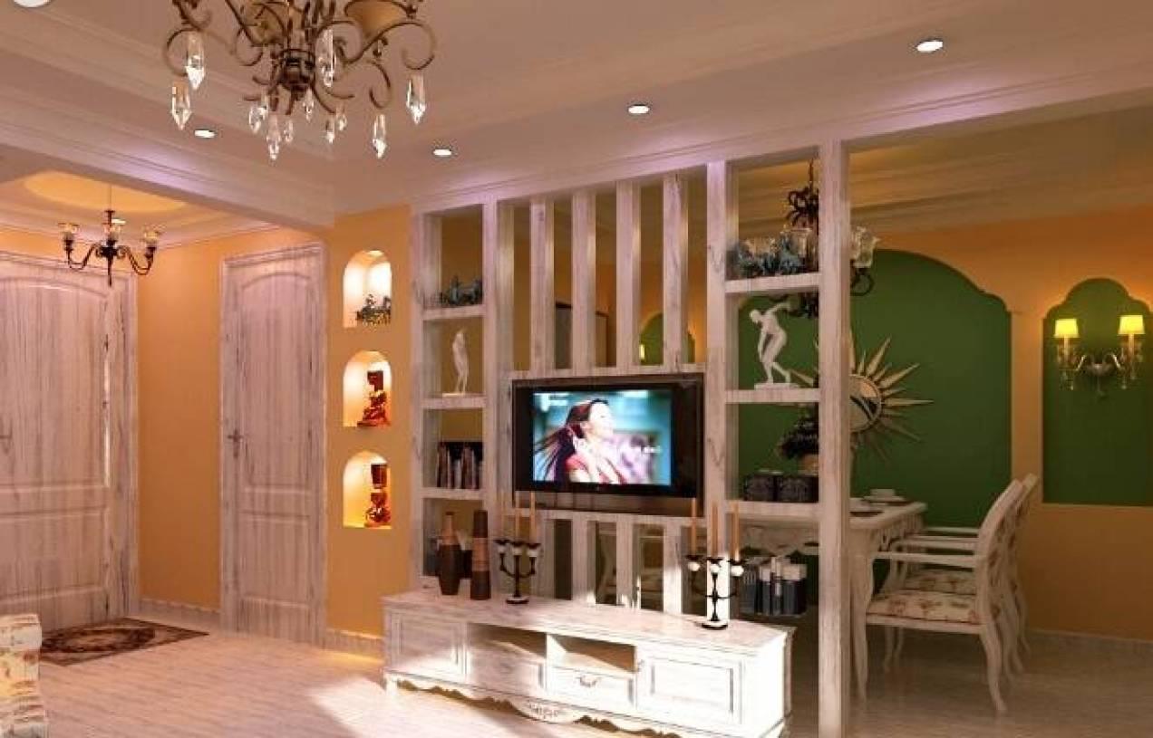 欧式风格客厅电视墙墙隔断装修效果图-欧式风格电视柜
