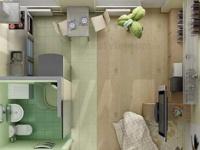二十平米的单身公寓   一样可以五脏俱全超时尚!