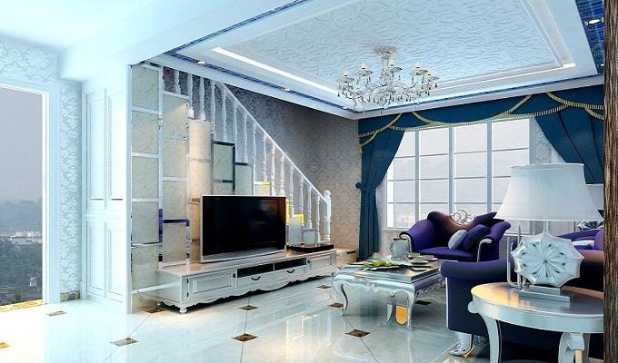 客厅楼梯电视背景墙怎么装修?