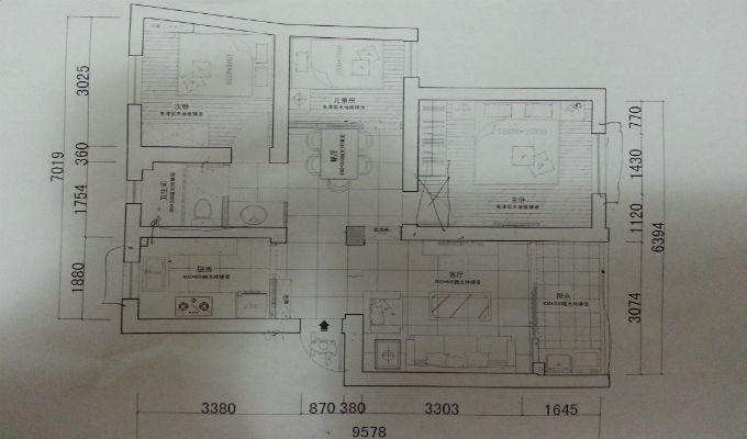 ② 绘制房间图纸   在量房前记得携带房屋户型图,如果没有带,可以图片