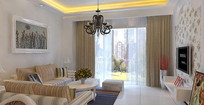 客厅窗帘搭配技巧2:花色款式需与沙发相搭配