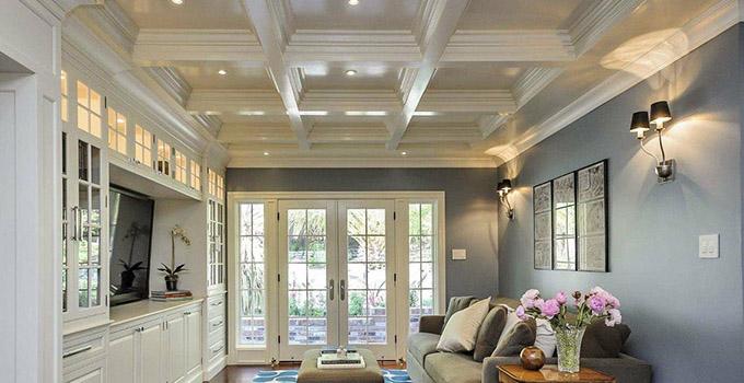 客厅木材吊顶效果图