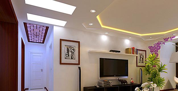 客厅吊顶设计3,用石膏在天花顶四周造型:这种吊顶