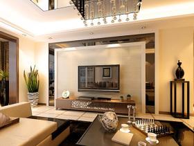 黄色简欧客厅背景墙设计