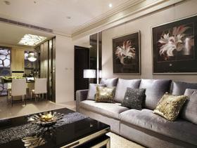 灰色现代客厅背景墙装修