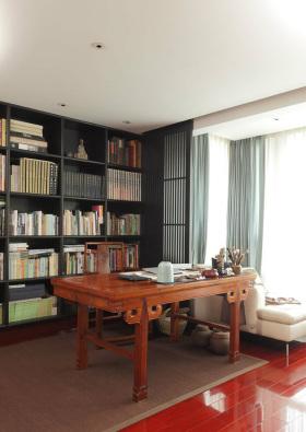 黑色中式书房收纳图片