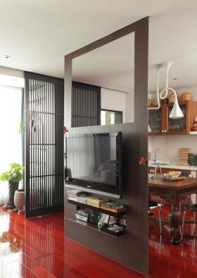 黑色中式背景墙装修设计