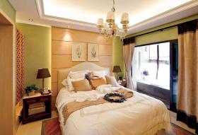 绿色美式田园装修卧室窗帘欣赏
