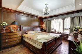 原木色美式时尚温馨卧室窗帘