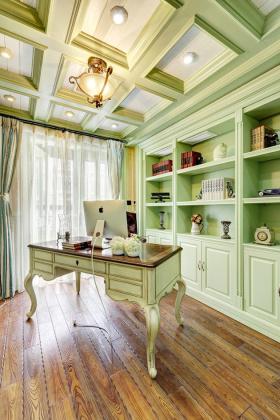 绿色典雅美式书房吊顶效果图