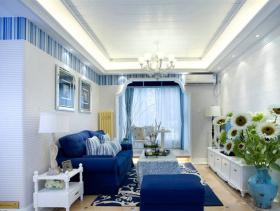 蓝色地中海客厅吊顶设计