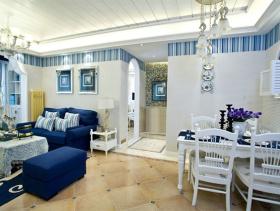 蓝色地中海餐厅吊顶设计
