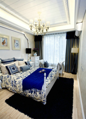 蓝色地中海卧室窗帘效果图