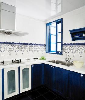 蓝色地中海厨房橱柜设计