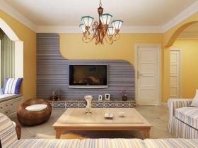 黄色地中海客厅背景墙设计