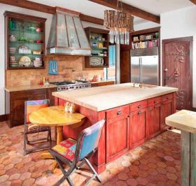 彩色混搭厨房橱柜效果图