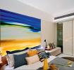 黄色现代卧室背景墙效果图