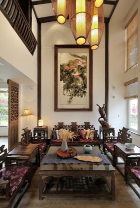 中式客厅典雅背景墙布置图