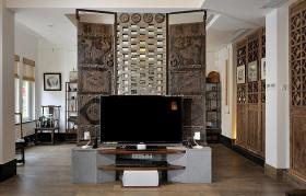 中式客厅灰色电视背景墙