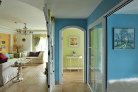 蓝色夏日地中海客厅过道效果图