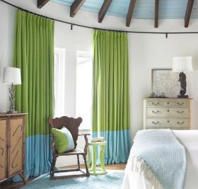 田园卧室窗帘装修图片