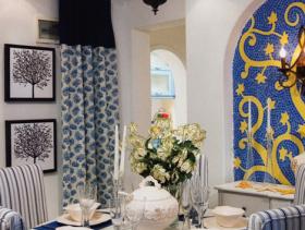 地中海蓝色餐厅吊顶效果图