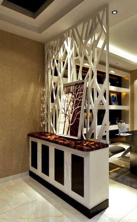 简欧餐厅镂空隔断设计