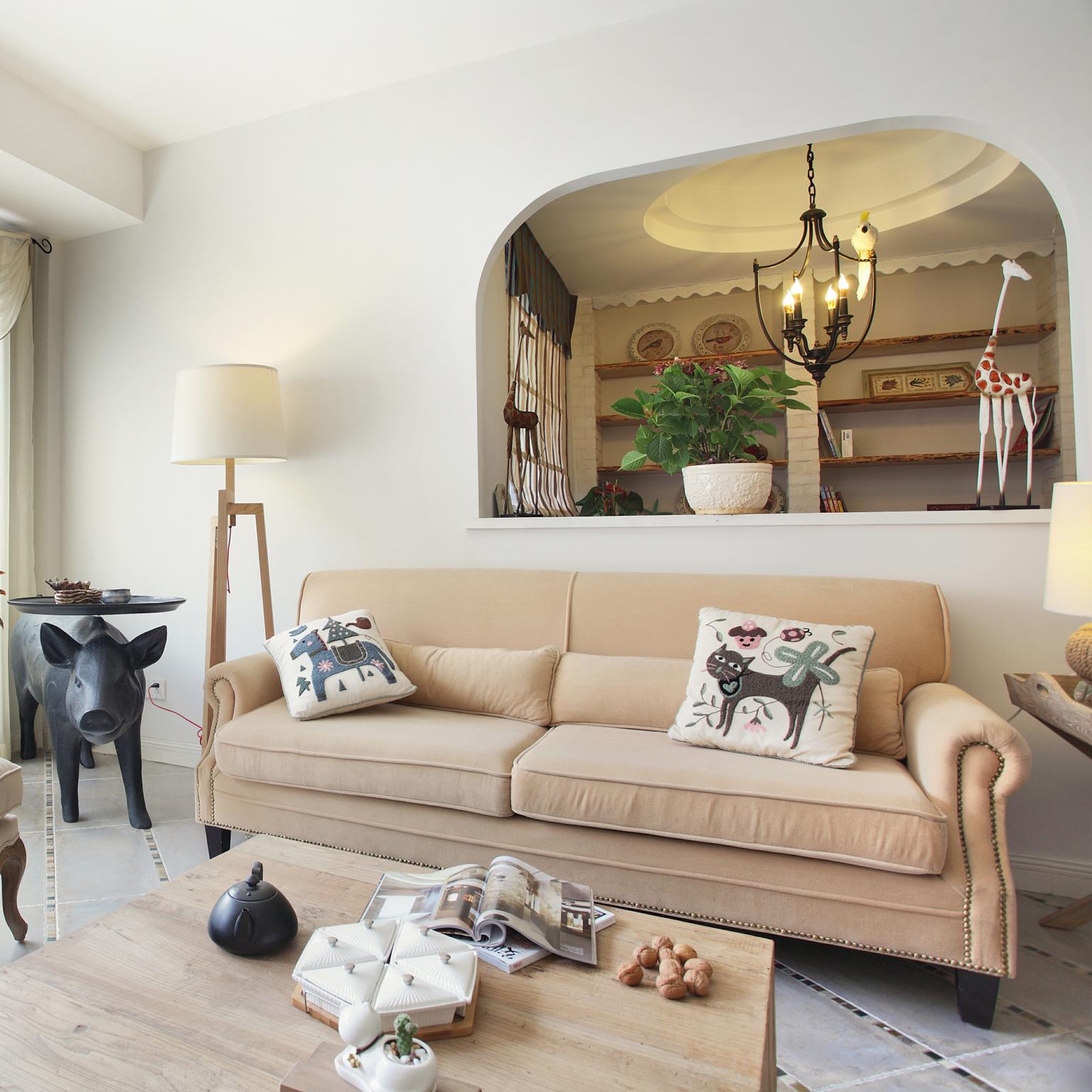 室内设计美式原木风客厅装修案例