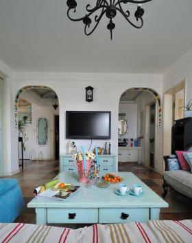 蓝色地中海风格室内客厅背景墙装修效果图