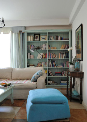 蓝色梦幻地中海风格客厅装潢