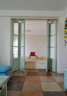 蓝色梦幻地中海风格书房榻榻米装潢