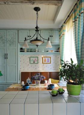蓝色梦幻地中海风格室内餐厅吧台装修效果图