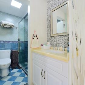 蓝色美式卫生间浴室柜精装修