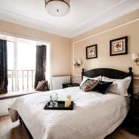 美式卧室飘窗设计效果图
