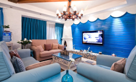 蓝色地中海客厅装修设计效果图
