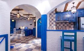 地中海简约风格厨房吧台效果图片