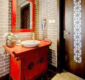 现代中式室内卫生间设计效果图