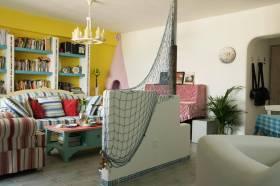 色彩夏日地中海客厅布置效果图