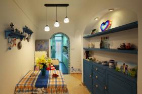 蓝色梦幻地中海风格家居餐厅装潢设计