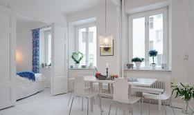 北欧风白色餐厅设计