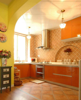 美式开放式厨房设计室内效果图