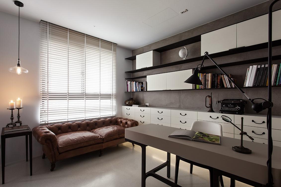 现代灰色书房设计装修设计图
