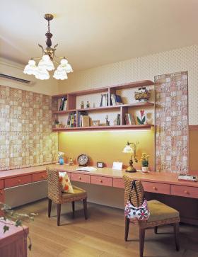 浪漫粉色欧式书房设计