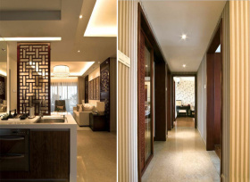 中式暖色调过道装潢设计图片