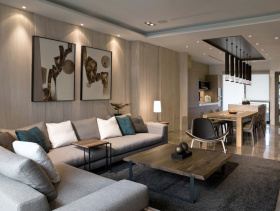 现代简约风格灰色欧式2012客厅吊顶效果图